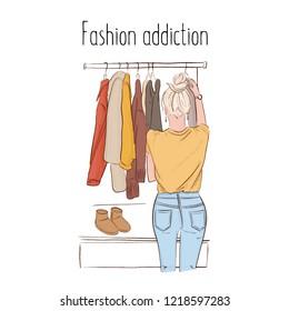 Woman in personal  wardrobe  hand drawn illustration. Trendy girl holding apparel modern closet illustration. Shopping lover interior design. Girl near clothes hanger fashion sketch