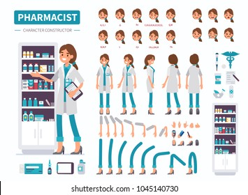 Woman pharmacist character. Front, side and back view. Flat  cartoon style vector illustration isolated on white background.