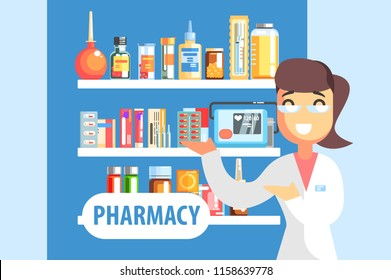 Woman Pharmacist Demonstrating Drug Assortment On The Shelf Of Pharmacy