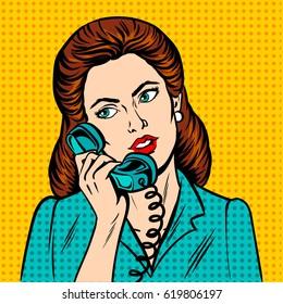 Woman with phone pop art retro vector illustration. Comic book style imitation.