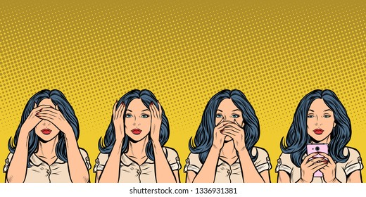 woman with phone. I see nothing, hear nothing, say nothing. Pop art retro vector illustration vintage kitsch