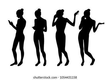 Woman phone talking silhouettes