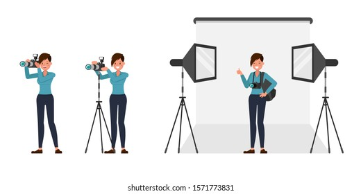 Woman photographer character vector design. Presentation in various action.