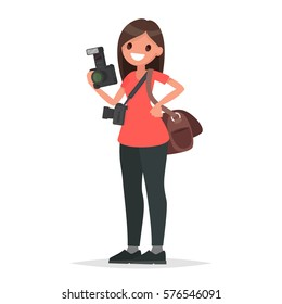 Woman photographer holding a camera on a white background. Vector illustration in a flat style
