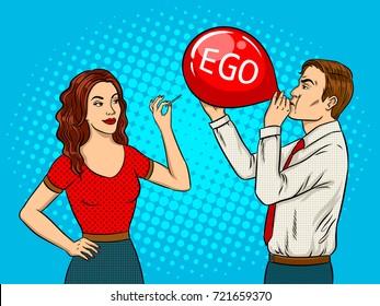 Woman pierce balloon with needle pop art retro vector illustration. Ego destruction metaphor. Comic book style imitation.