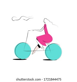 Woman in a pink dress driving the bicycle simple drawing on a white background. Mobile app or website header. Product category. Vector hand drawn character illustration in minimal style.