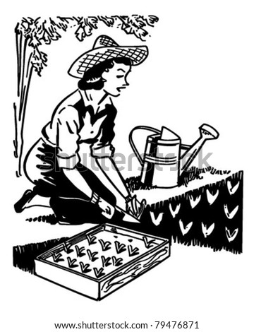 Woman Planting Garden Retro Clipart Illustration Stock Vector