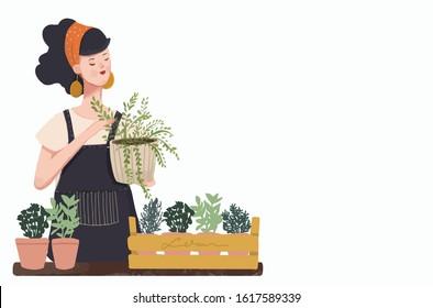 Woman planting gardens flowers, agriculture gardener hobby and garden job. Gardening person, gardener flowers. Flat vector illustration.