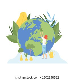 Woman Planting Trees, Volunteers Taking Care About Planet Ecology, Environment, Nature Protection Flat Vector Illustration