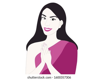 Woman play respect thai style sawasdee greeting isolated vector illustration.