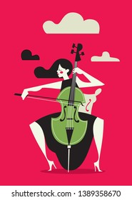 Woman playing Cello with Clouds