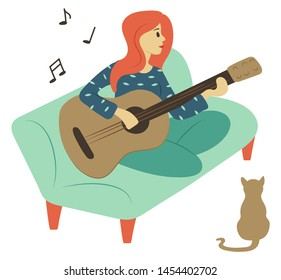 Woman playing guitar vector, isolated character sitting on sofa at home. Flat style female guitarist holding musical instrument, notes and cat pet