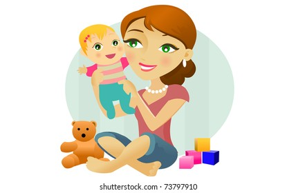 A woman plays with a baby