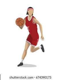 Woman plays basketball.