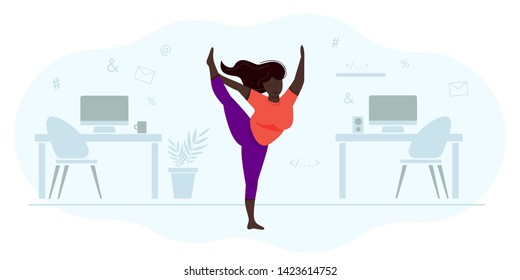 A woman plus size does yoga in t the office space. Struggle with a sedentary lifestyle, reducing overweight. The girl stands in the asana. Muscle strengthening and stretching. Vector  illustration.