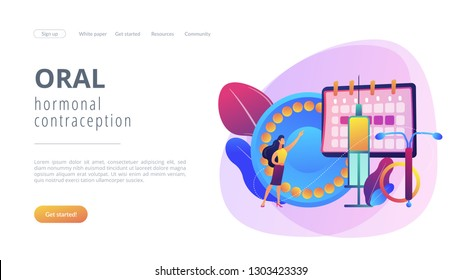 Woman poining at oral contraceptives, iud and bc injection. Female contraceptives, oral hormonal contraception, birth fertility control concept. Website vibrant violet landing web page template.