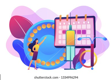 Woman poining at oral contraceptives, iud and bc injection. Female contraceptives, oral hormonal contraception, birth fertility control concept. Bright vibrant violet vector isolated illustration
