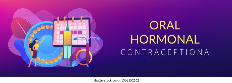 Woman poining at oral contraceptives, iud and bc injection. Female contraceptives, oral hormonal contraception, birth fertility control concept. Header or footer banner template with copy space.
