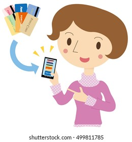 Woman to the point card management in the mobile phone app