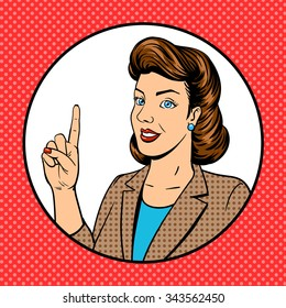 Woman point finger gesture pop art vector illustration. Retro style. Comic book style imitation