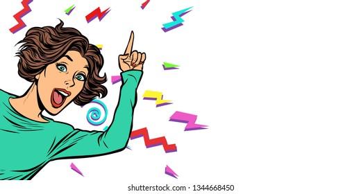 woman pointing finger. Pop art retro vector illustration vintage kitsch