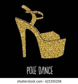 Woman pole dance print. Exotic gold slim girls shoes for dancing. Vector heels pattern for fitness, athlete, striptease dancers. Clubbing high heels platform shoes.