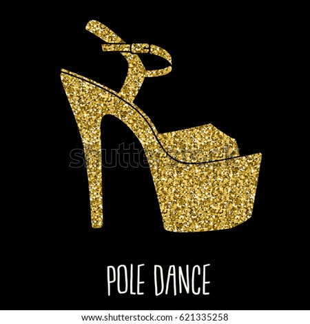 a72818062f9f Woman pole dance print. Exotic gold slim girls shoes for dancing. Vector  heels pattern for fitness