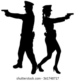 woman police officer and policeman with handguns