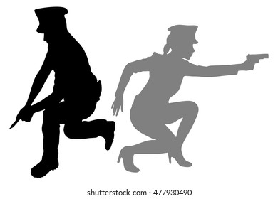 woman police officer and policeman with handguns aiming
