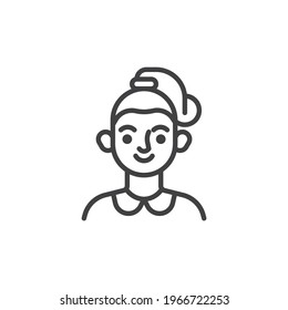 Woman with ponytail hairstyle line icon. linear style sign for mobile concept and web design. Young woman avatar outline vector icon. Symbol, logo illustration. Vector graphics