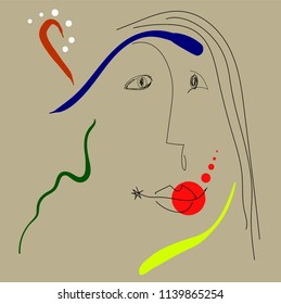 Woman portrait in joan miro style