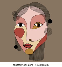 Woman portrait in modern abstract style. Hand drawn vector illustration for your contemporary fashion design.