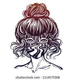 Woman portrait of vintage bun hair with double exposure night outdoors landscape of a dark empty night forest road. Isolated vector illustration.