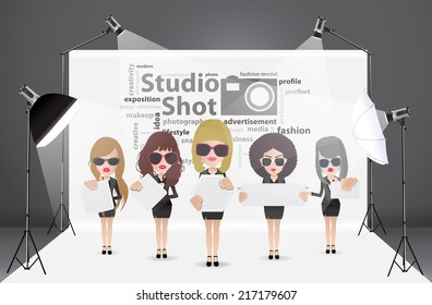 Woman posing fashion in photography studio with a light set up and white backdrop, with creative word cloud idea concept, Vector illustration modern template design