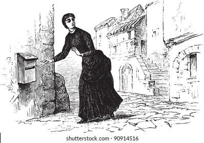 "Woman posting a letter - Vintage illustration from ""La petite soeur par Hector Malot"" 1882, France"