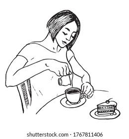 Frau, die Sahne in Kaffee gießt, Kuchen mit Kirsche auf dem Tisch, handgezeichnet doodle, Skizze, schwarz-weiße Vektorgrafik