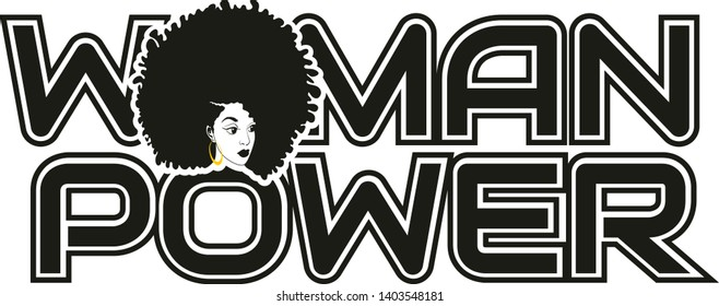 Woman Power, Afro girl, hairstyle vector