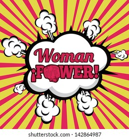 woman power comics over grunge background  vector illustration