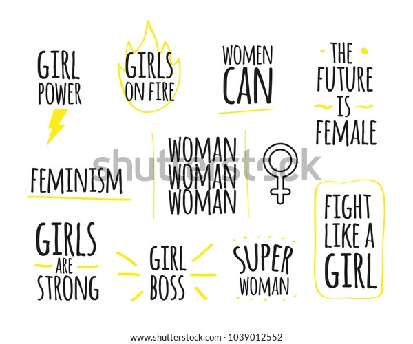 Woman Power Quotes Collection Girl Power Stock Vector ...