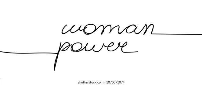 Woman Power. Typography Girl Power, Future is Female Fashion Slogan Punk girl gang, Girl Gang patches, badges T-shirt apparels print tee graphic design. Continuous line art or One Line Drawing.