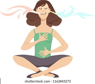 Woman practicing breathing exercises, EPS 8 vector cartoon