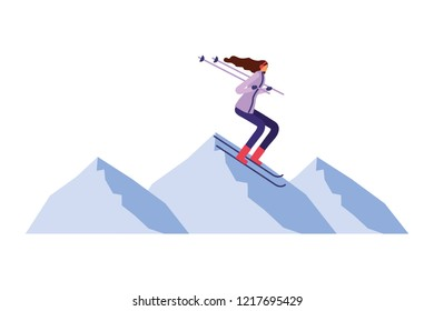 woman practicing ski in the winter landscape