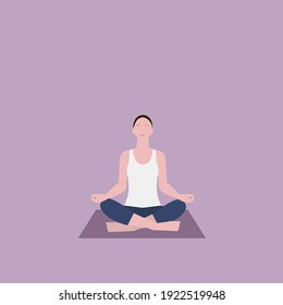 woman practicing yoga doing Siddhasana posture on violet background