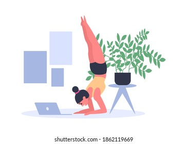 Woman practicing yoga at home with laptop on floor. Young girl doing sport exercises in sportswear and working. Female person having pilates. Headstand, salamba sirsasana position vector illustration
