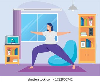woman practicing yoga online in living room vector illustration design