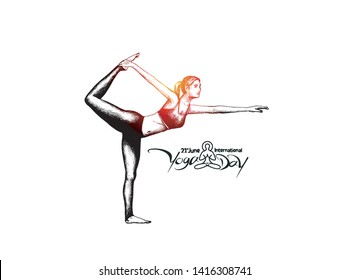 Woman practicing yoga pose, 21st june international yoga day, Hand Draw Sketch Vector Design.