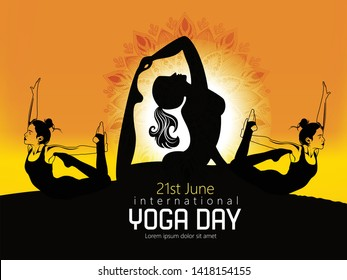 Woman practicing yoga pose, 21st june international yoga day, vector illustration.