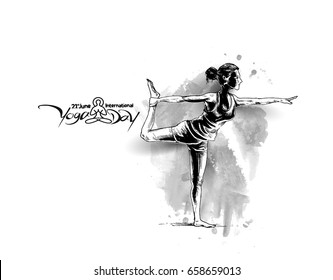 Woman practicing yoga pose, 21st june international yoga day, vector illustration.