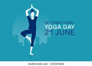 Woman practicing yoga, Vrikshasana or Tree pose, banner for international yoga day, 21st of june vector illustration. Eps 10 Vector illustration Minimalist white blue flat business style modern design