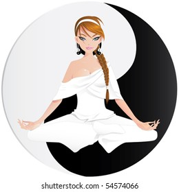 Woman practicing yoga with yin yang symbol on separate layer